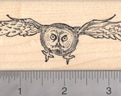 Great Gray Owl Rubber Stamp, In Flight J17602 Wood Mounted