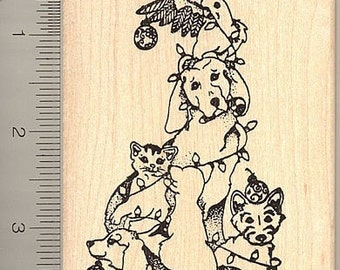 Christmas Pet Tree Rubber Stamp, Dog, Cat, Cockatoo  O3613 Wood Mounted