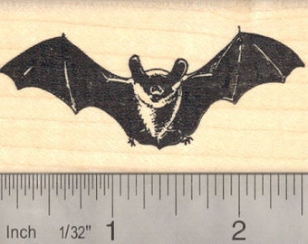 Realistic Bat Rubber Stamp G14102 Wood Mounted