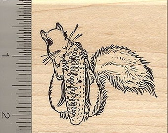 Squirrel with Corn Rubber Stamp H10101 Wood Mounted, Thanksgiving