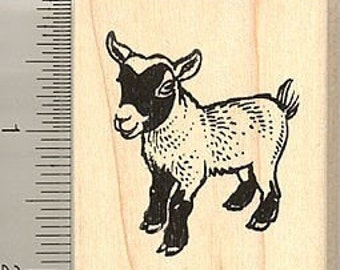 African Pygmy Goat Rubber Stamp E8508 Wood Mounted