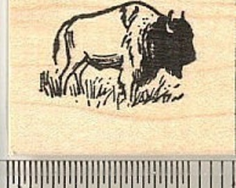 Tiny Bison Rubber Stamp A9504, American Buffalo, Wood Mounted