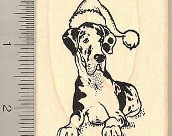 Santa Harlequin Great Dane Rubber Stamp H8706 Wood Mounted