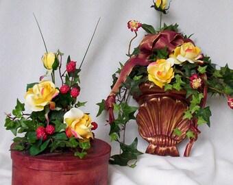 Tuscan Red Floral Arrangement Ensemble Set of 2 silk flower centerpieces Home Decor Flower Arrangement Italian Send flowers