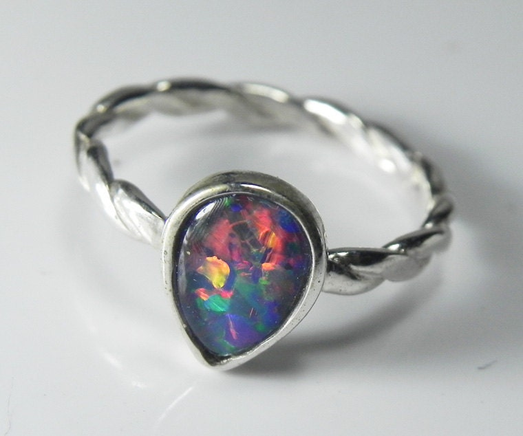 Opal Ring Sterling Silver Genuine Opal Stack by FantaSeaJewelry