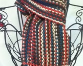 orange, brown & blues:  handwoven chunky wool scarf