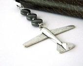 Airplane Bookmark with Black Hematite Beads Shepherd Hook Steel Bookmark Silver Color