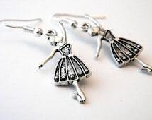 Ballerina Earrings Silver Color Dangle Earrings Ballet Earrings Dancer Earrings