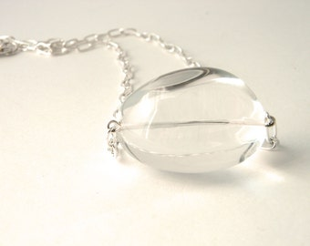 Clear Quartz Stone Chain Necklace Lobster Clasp 18 Inch