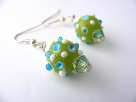 Green and White Lampwork Earrings