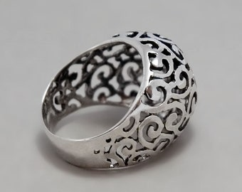 Celtic Ring, Filigree Ring, Sterling Silver Ring, Black Silver ring, Victorian Statement Ring, Oxidized Ring, Lace Ring, boho silver ring