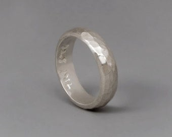 Sterling Silver Band Ring, Wide Silver Band, Hammered Band, Mens Weddings Band, Womens Wedding Ring,  wedding ring set, Simple Ring Organic
