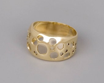 14k Gold Ring, Solid Gold Ring, Fine Jewelry, Yellow Gold Ring, Modern Ring, Unique Ring, Circle Ring, Unique Gold Ring, Contemporary Ring