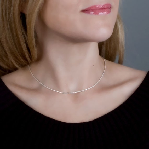 Sterling Silver Chain Necklace, Layered Necklace, Silver Chain, Thin Necklace, Silver Choker, Silver Layered Necklace, chocker necklace