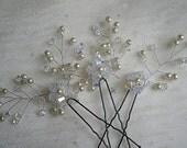 Mini Hair Vine Pins - Set of Three - Swarovski Crystal Pearl - Wedding Hair Accessories