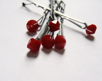 Red Coral Crystal Hair Pins - Minimalist Opaque Red Coral Swarovski (set of 6 wedding bobby pins)