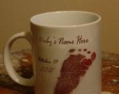 Handprint  or Footprint mug for mom, dad grandpa and grandma