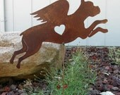 Rusty Finish Cropped Boxer Dog Angel Memorial Garden Art Yard Stake