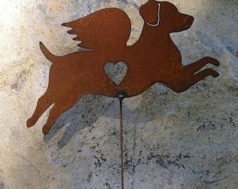 Rusty Finish Jack Russell Terrier Angel Memorial Garden Art Stake