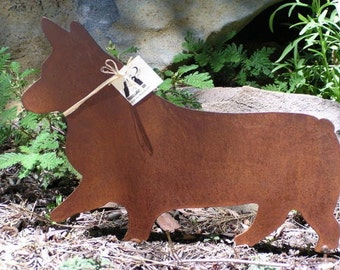 Rusty Finish Pembroke Corgi Metal Garden Art Yard Stake