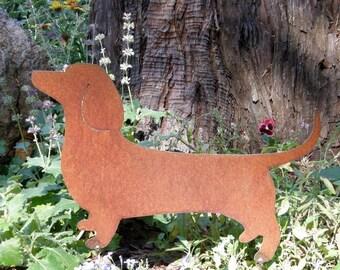 Rusty Finish Dachshund Dog Metal Garden Art Yard Stake