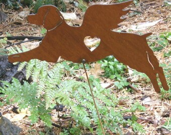 Rusty Finish Metal Brittany Spaniel Angel Memorial Garden Art Yard Stake