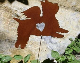 Rusty Finish Metal Garden Art Westie West Highland Terrier Angel Memorial Yard Stake