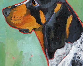 Coonhound No. 2 - Bluetick magnets, coasters and art prints