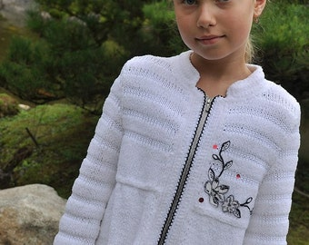 PATTERN Japanese Garden Hand Knitted Jacket Knit Pattern with Crochet Details in PDF eBook