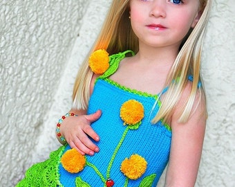 PATTERN Hand Knit Dandelion Tunic Knit Pattern with Crochet Details for Sizes 2-12 in PDF Instant Download