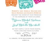 Day of the Dead Skull Papel Picado Fiesta Wedding Invitation and Response RSVP cards I design you print Dia de los muertoss