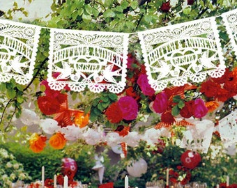 4 pack - Personalized Wedding Garland Papel Picado White or Multi color Banners LOVE BIRDS Fiesta - Mexican Hand Cut Tissue with names date