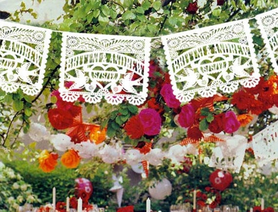 5 pack - Personalized Wedding Garland Papel Picado White or Multi color Banners LOVE BIRDS Fiesta - Mexican Hand Cut Tissue with names date
