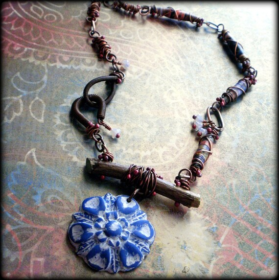 Organic Blue - Wire Wrapped Polymer Clay and Recycled Paper Bead Necklace