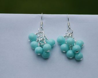 Tiffany Blue Glass Bead Cluster Earrings