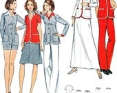 Womens Separates Sewing Pattern Butterick 6621 Jacket Blazer Pants Shorts Skirt 1970s Vintage Sewing Pattern Bust 31 1/2