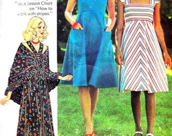 1970s Dress Pattern Simplicity 7332 Junior Teen Boho Empire Waist Maxi Sundress Cap Sleeves Shawl Vintage Sewing Pattern Bust 30 1/2