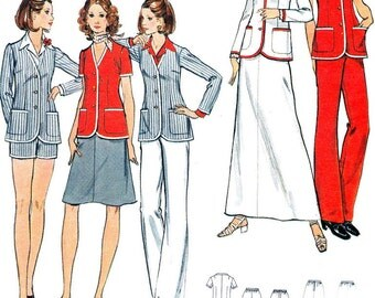 Womens Separates Sewing Pattern Butterick 6621 Jacket Blazer Pants Shorts Skirt 1970s Vintage Sewing Pattern Bust 31 1/2