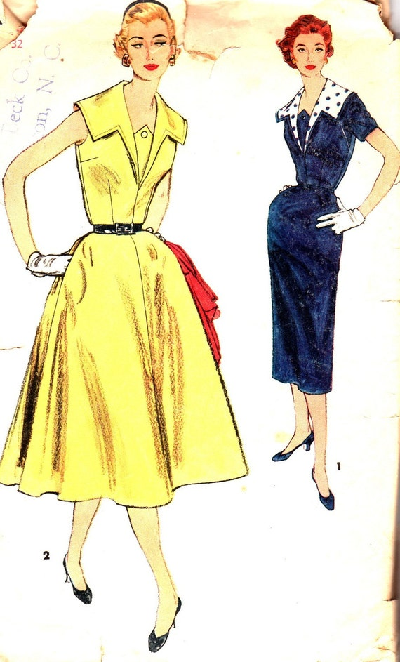 1950s Dress Pattern Simplicity 1132 Sheath or Full Skirt Dress Detachable Collar Womens Vintage Sewing Pattern Bust 32