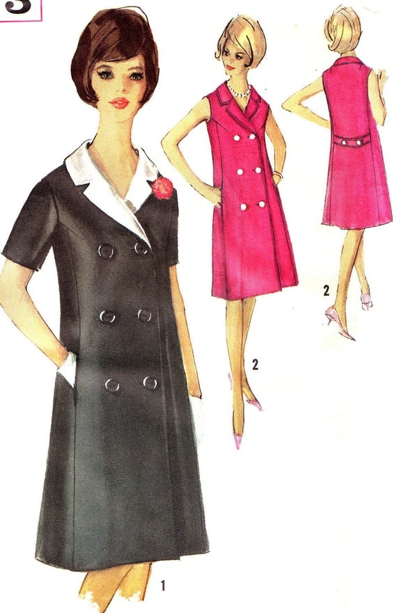 1960s dress pattern simplicity 5273 mod double breasted detachable