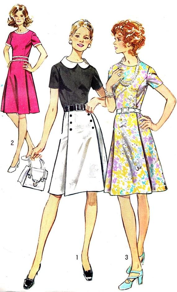 1970s dress pattern simplicity 9987 pleated skirt dress