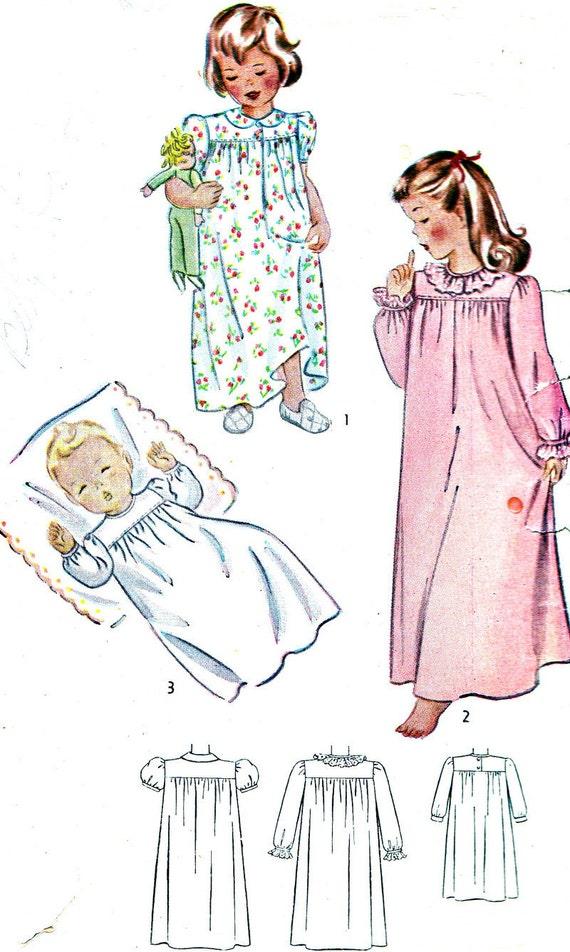 1940s Girls Nightgown Pattern Simplicity 1956 By Paneenjerez
