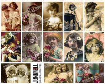 MATCHBOX BABES - Digital Printable Collage Sheet - Whimsical Victorian Girls, Vintage Children, Antique Tinted Portraits, Instant Download