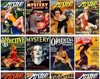 MYSTERY NOIR - Digital Printable Collage Sheet - Retro Pulp Fiction, Dime Store Detective Novels, Vintage Pin-Up Girls, Instant Download
