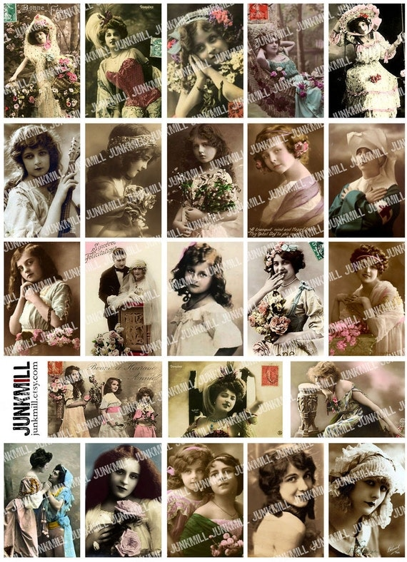 MATCHBOX GIRLS - Digital Printable Collage Sheet - Antique Vintage Tinted Portraits of Victorian Children & Gypsy Women, Instant Download