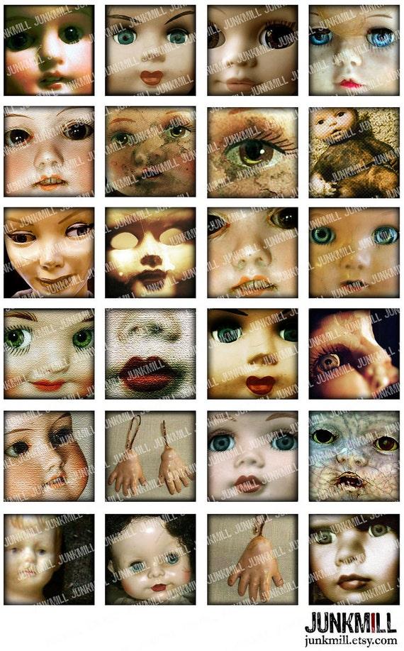 "DOLLHOUSE - Digital Printable Collage Sheet - Creepy Vintage Dolls & Evil Children for Halloween, 1"" Square or Scrabble, Instant Download"
