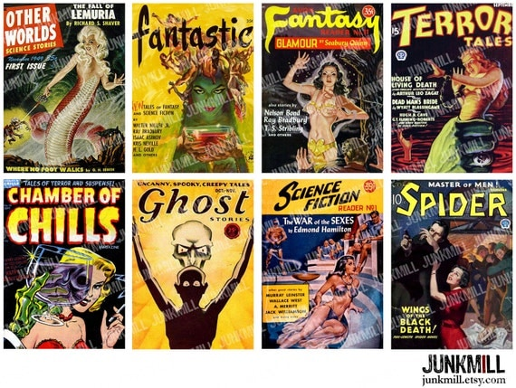 PULP HORROR - Digital Printable Collage Sheet - Pulp Fiction Covers, Science Fiction Comic Books, Gothic Pin-Ups & Halloween Monsters, ATC
