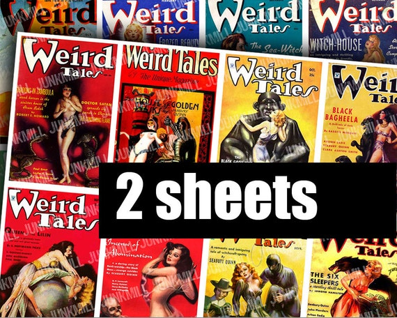 WEiRD TALES I - Digital Printable Collage Sheet - Science Fiction Magazine Covers with Fantasy Pin-Up Girls, Occult Horror Pulp Fiction, ATC