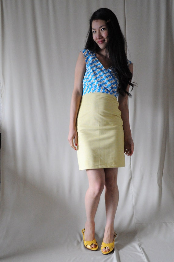 SALE Blue and Yellow Sunny Side Up Dress - Medium