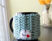 Tea Love Mug Cozy Crocheted in Light Teal Blue - Coffee Cup Cosy